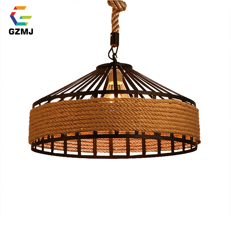 GZMJ Vintage Metal LED Pendant Lights 90-260V Hemp Rope Decor Bedroom Hanging Lamp Retro Iron Loft Hanglamp for Bar Restaurant vintage wicker pendant lamp hand made knitted hemp rope iron coffee shop pendant lamps loft lamp american lamp free shipping