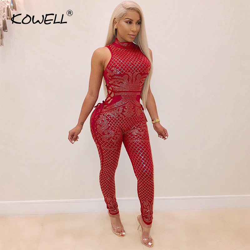 Sexy Women Geometric Sequined   Jumpsuit   Stand Neck Sleeveless Hollow Out Skinny Bodysuits Sexy Clubwear Party Romper Overalls