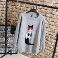 Gato de dibujos animados Mujeres Suéteres Casual Tejido de Punto Jerseys Plus Tamaño 3XL 4XL 5XL O-cuello Flojo Suéter Gris Verde KK2242