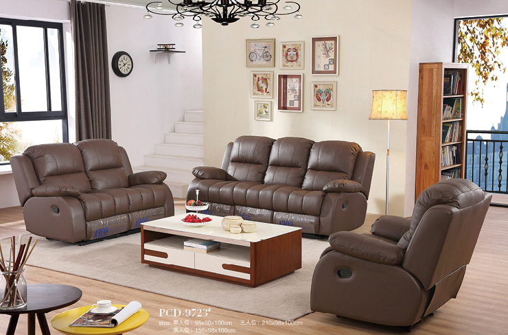 Promotion Wholesale Genuine Leather Living Room Sofa With Electrical Recliner Sofa