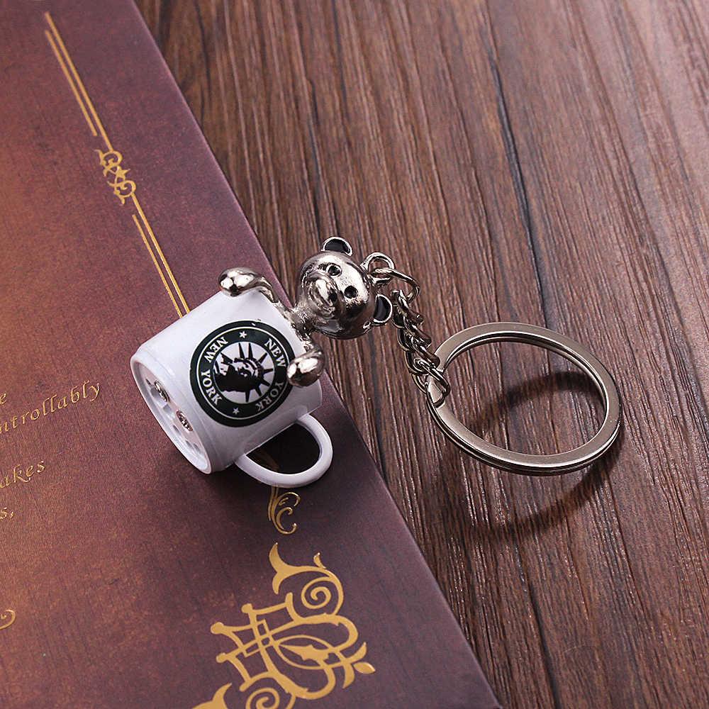 Vicney Красочный Нью-Йоркский брелок-чашка модный медведь в чашке брелок для друзей новый стиль ювелирное изделие брелок для ключей для влюбленных подарок