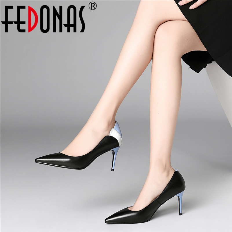 FEDONAS Sexy Pointed Toe High Heels Slip on Women Pumps Female 2019 Spring Summer Quality Genuine Leather Office Shoes Woman