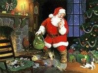 Ручная роспись Рождественская масляная живопись Санта Клаус отправить подарки дети холст картины Новогоднее рождественское декоративное