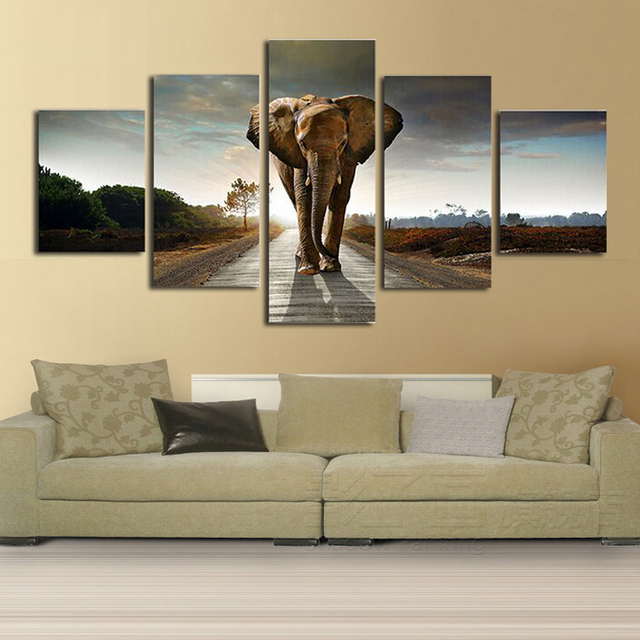 5 Panels Elephant Large Canvas Painting Pictures For Living Room Wall Sale