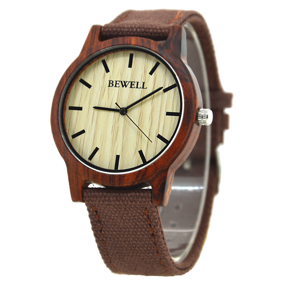 BEWELL Bamboo Wood Watch Analog Digital For Men 57