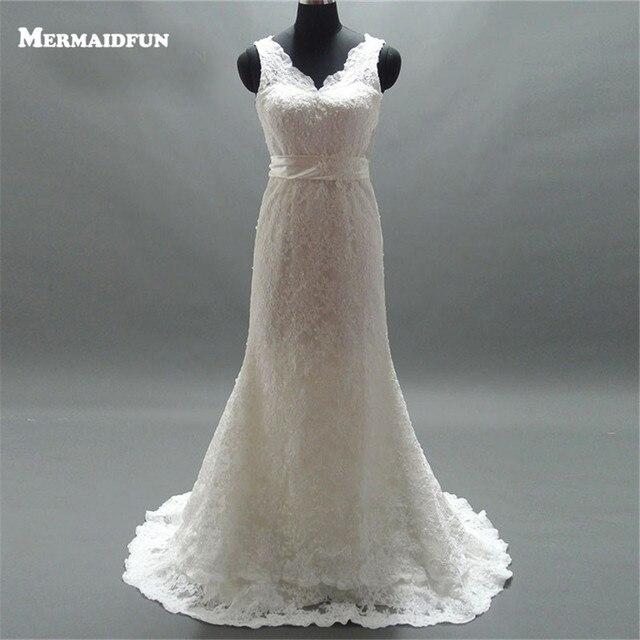 2018 Real Photos Sweetheart Sashes Belt V Back Lace Wedding Dresses ...