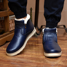 DXKZMCM Winter Warm Men Boots Casual Shoes Men Fashion Plush Snow Boots Ankle Boots Fur Leather Footwear