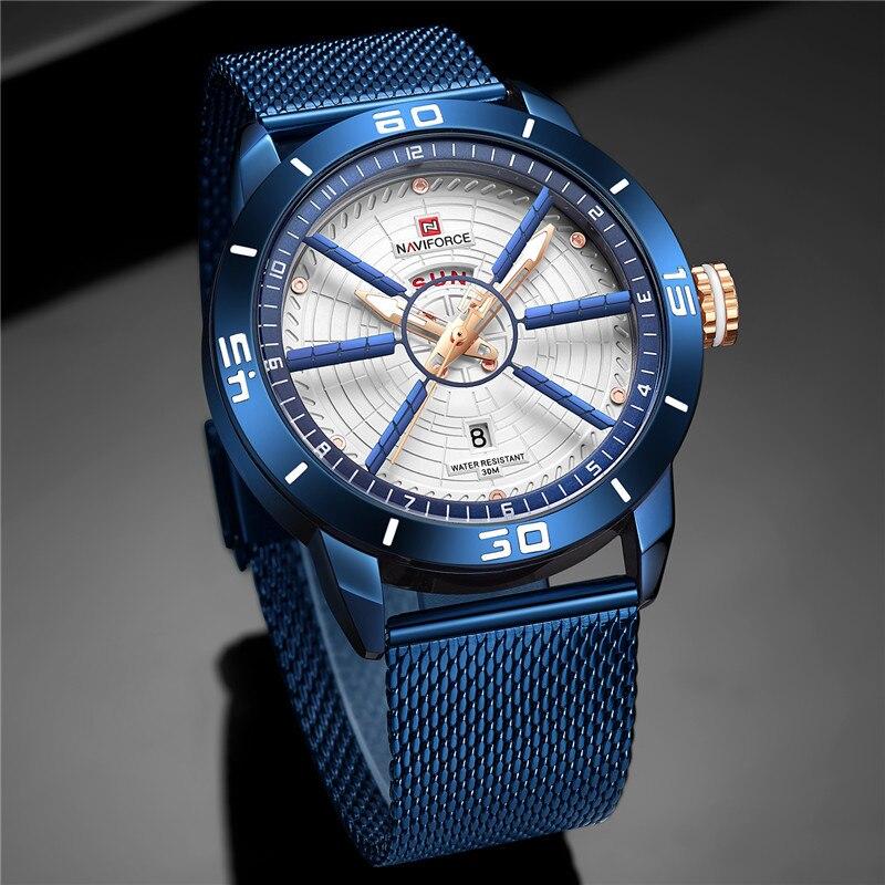 NAVIFORCE Mens Watches Top Brand Luxury Quartz Watch Men Full Steel Men Watch Sport Fashion Business Watches Relogio Masculino 3