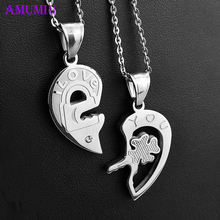 цена на AMUMIU hearts Lock and Key titanium steel jewelry heart to heart pendant for couples lovers necklaces Gift Jewelry P019