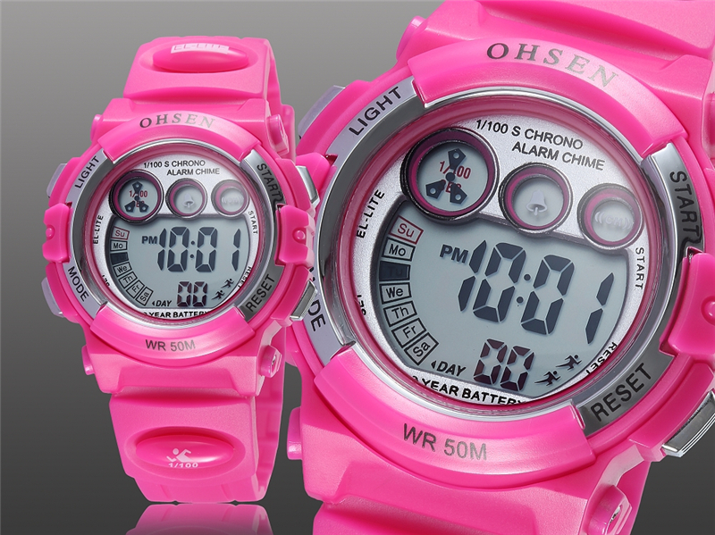 OHSEN Fashion Children Sports Watches Waterproof 5ATM Kids LED Digital Watch Student Outdoor Hand Electronic Clock Montre Femme (15)