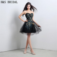 H S BRIDAL Sweetheart Black Cocktail Dresses Beaded Lace Up Cocktail Party Dress Mini Short Prom