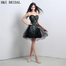 H S BRIDAL Sweetheart Black Cocktail Dresses Beaded Lace Up Cocktail Party  Dress Mini Short Prom Dress 1198e08dda4a