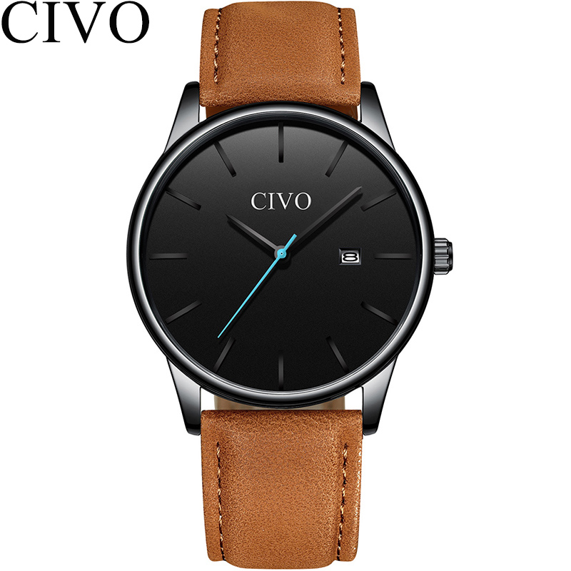 CIVO Fashion Mens Watches Top Brand Luxury Waterproof Minimalist Slim Leather Strap Quartz Watch For Men Clock Relogio MasculinoCIVO Fashion Mens Watches Top Brand Luxury Waterproof Minimalist Slim Leather Strap Quartz Watch For Men Clock Relogio Masculino