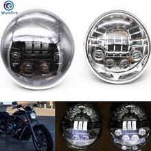 ФОТО wumfire motorcycle aluminum headlight for harley vrod vrsca vrsc headlight vrsc/v-rod led headlamp with daytime running light
