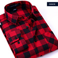 2016 New Men's Plaid long sleeved flannel Shirt Slim Fit Spring Men's Business Casual Shirts Fashion Brushed Shirts