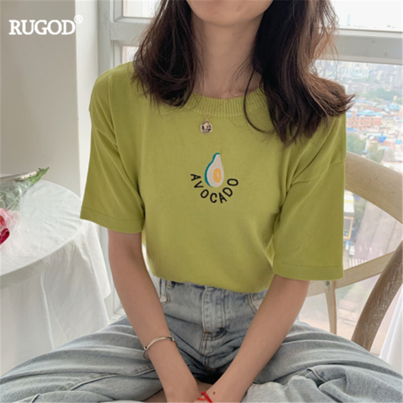 RUGOD 2019 Summer Women O-neck Avocado Embroidery Short Sleeve T-shirt Korea Loose Preppy Style Sweet Girl Casual Lady Knitted
