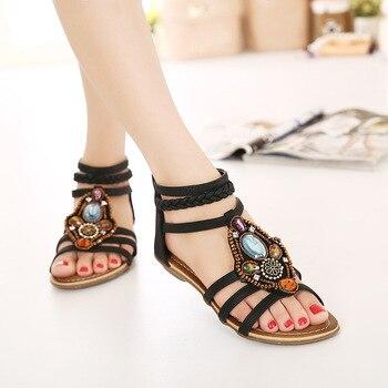 Summer sandalias mujer Women Sandals Bohemia anckle strip Shoes Beach Sandalias Femininas Casual Thong Flats sapato feminino sandales boheme