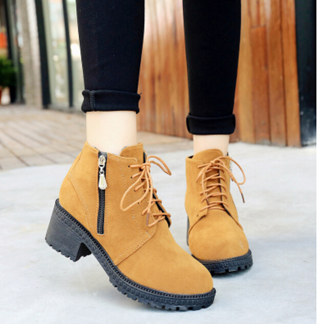 Rétro Plate Lace Black Up 35 Casual green Oxford Bottes 40 Martin forme Hiver 2018new Chaussures yellow Femme Talons Femmes Cheville Automne wqAz8OX