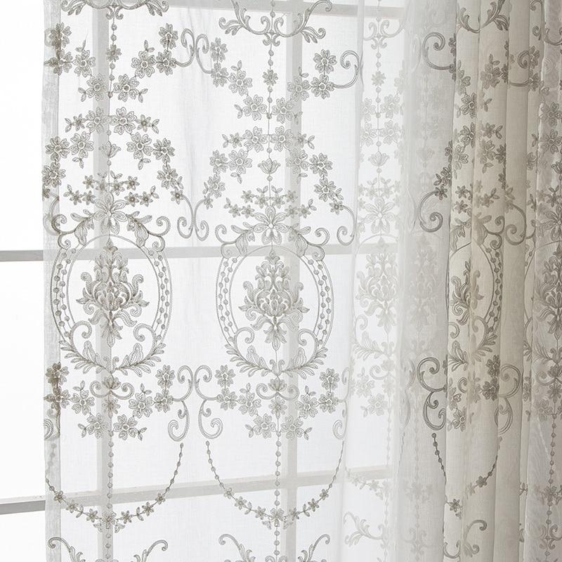 Europäischen Stil Bestickt Voile Vorhänge für Wohnzimmer Weiß Innendekoration hause Sheer Panel Vorhänge (B712)