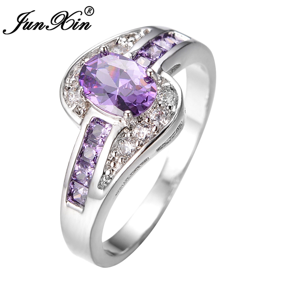 Junxin female purple oval ring fashion white black gold for Jewelry wedding rings