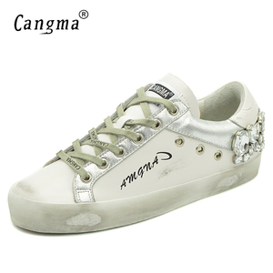 Image 2 - CANGMA  Casual Shoes Brand Sneakers Golden Women Silver Diamond White Flats Genuine Leather Shoes Crystal Goose Trainers