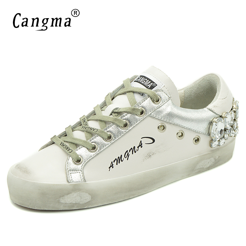 CANGMA buty w stylu casual trampki marki złoty kobiety srebrny diament białe mieszkania prawdziwej skóry buty kryształowe gęsi trenerzy w Damskie buty typu flats od Buty na  Grupa 2