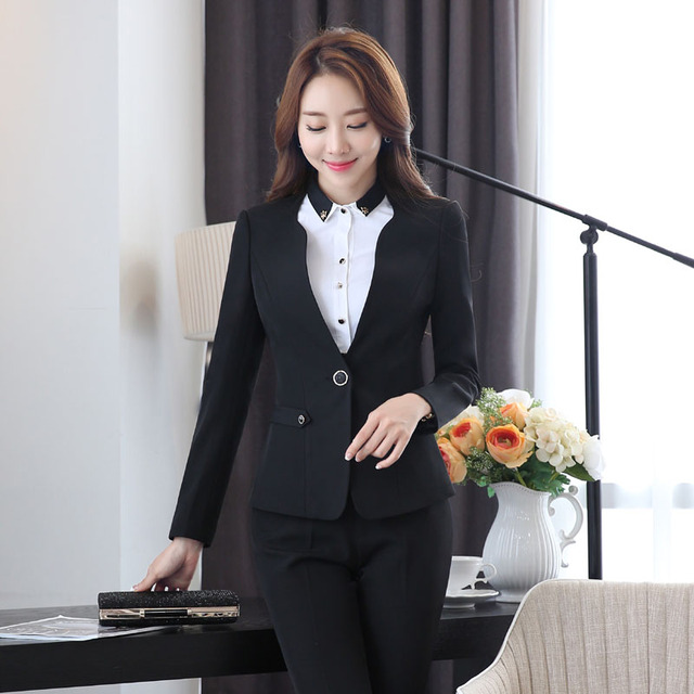 Formal Black Slim Fashion Uniform Styles Female Pantsuits for ...