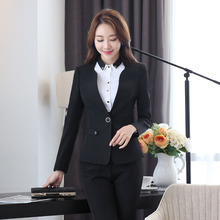 Formal Black Slim Fashion Uniform Styles Female Pantsuits for Business Women Pants Suits With Jackets And Pants Ladies Blazers