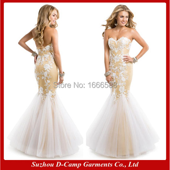 Free Shipping OC 2923 New arrival white and gold fit and flare fish ...
