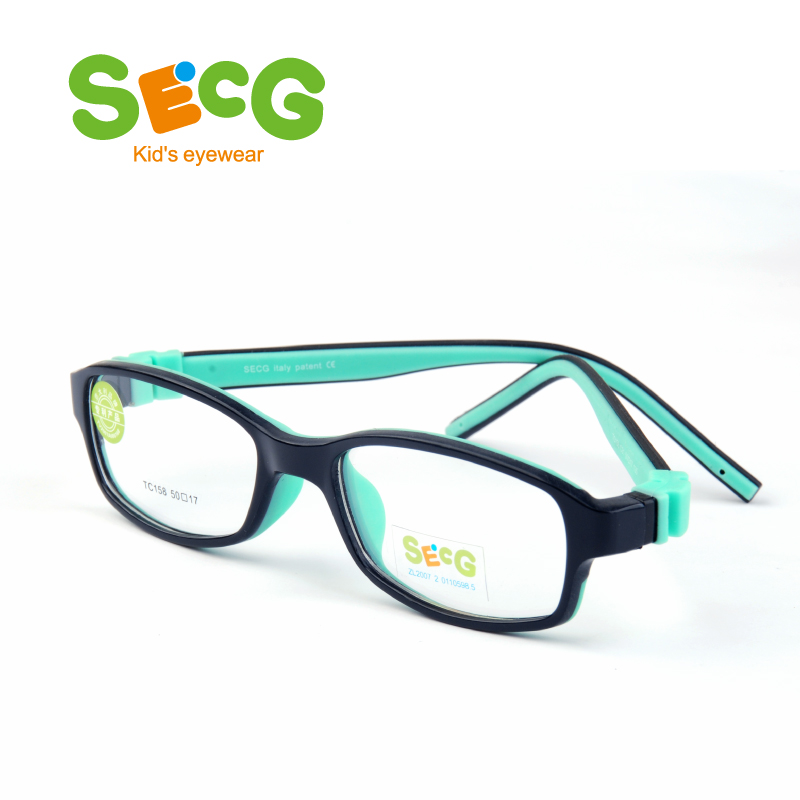SECG Square Solid Detachable Kids Glasses Frame Flexible TR90 Silicone Children Glasses Eyeglasses Frame Prescription Lunette