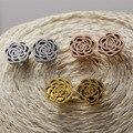 Красивая скраб камелия серьги роуз / желтое золото / покрынная серьги