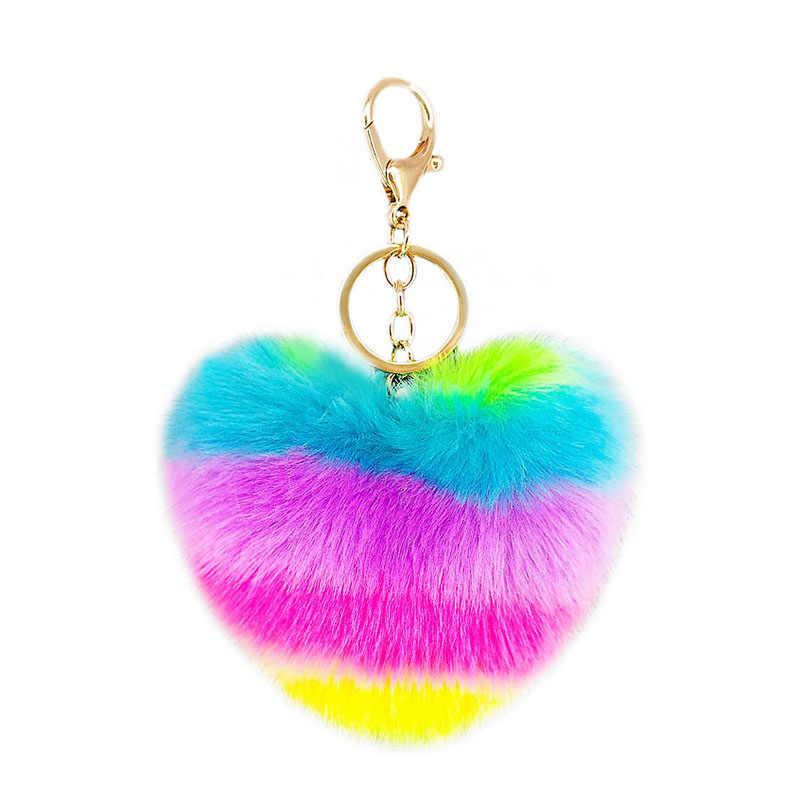 หัวใจ Pompoms พวงกุญแจสายรุ้งตุ๊กตาลูกกุญแจโซ่ตกแต่งจี้สำหรับสตรีอุปกรณ์เสริมกระเป๋า Keychains พวงกุญแจแฟชั่น