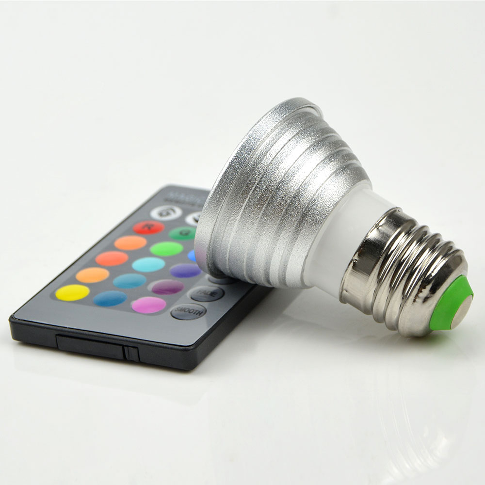 20~27Day Delivery 1PC 16 Colors 3W RGB LED Lampada bulb E27 220V 110V LED Spotlight lamps     -> Lampada Led Rgb