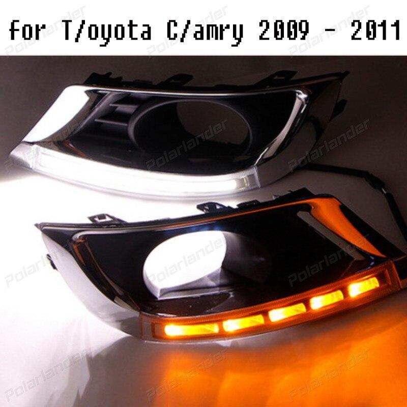 12В 6000K Водонепроницаемый поворот стиль сигнала СИД автомобиля DRL дневные ходовые огни противотуманных фар для Т/oyota с/амри 2009-2011