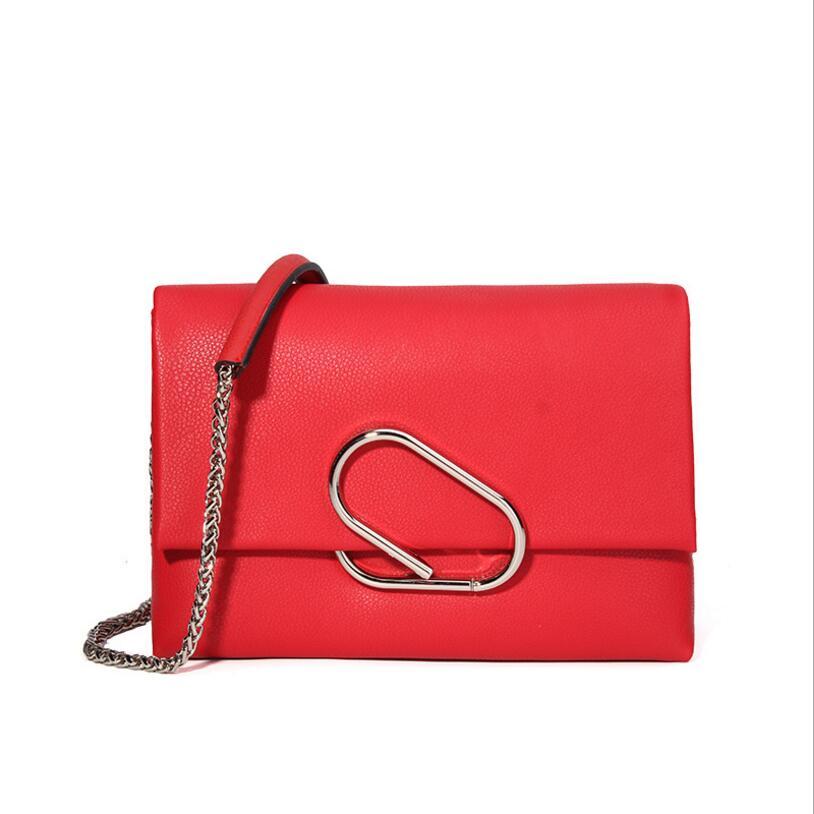 En cuir véritable femmes sac à bandoulière designer hasp métal mode couverture enveloppe dames sacs à bandoulière longue chaîne de haute qualité sac