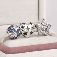 Fits Pandora Charms Bracelet And Necklace 925 Sterling Silver Charm Sets Crystal Pave Ball Star Beads