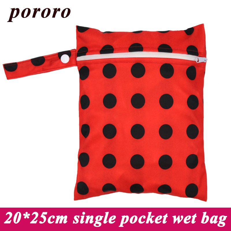 1PC Reusable Waterproof Fashion Prints Wet Dry Diaper Bag Single Pocket Cloth Handle Wet bag 20*25CM Wholesale