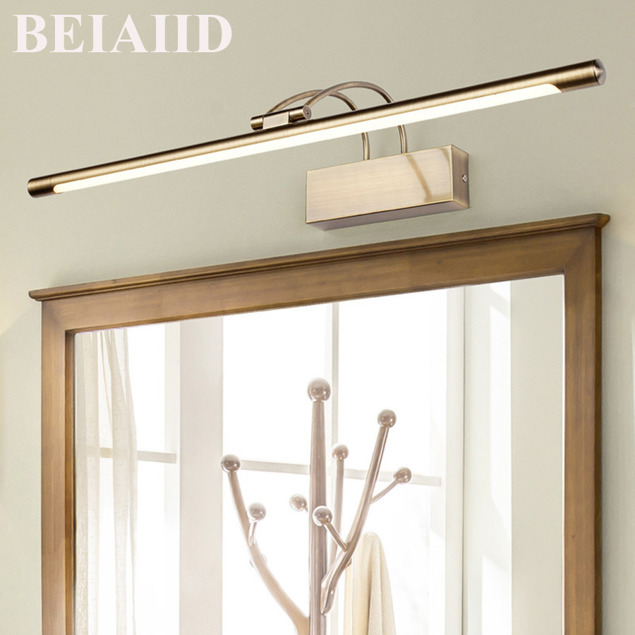 BEIAIDI Modern Anti-fog Waterproof Acrylic Mirror Light 9w 12w European Copper Front Mirror Lamp Waterproof Make-up Mirror Light 40cm 12w acryl aluminum led wall lamp mirror light for bathroom aisle living room waterproof anti fog mirror lamps 2131