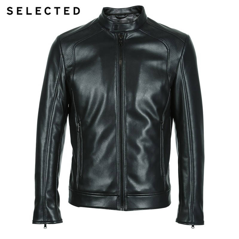 Image 5 - SELECTED Stand up Collar Leather Jacket Men's Zip through PU Jacket S  4184P3506-in Faux Leather Coats from Men's Clothing