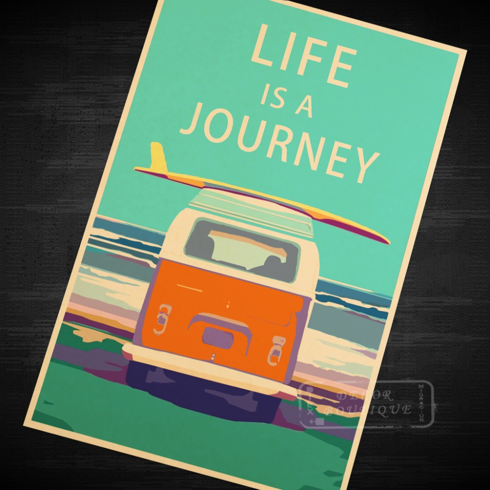 life is a journey vintage travel surf beach poster retro decorative diy wall stickers art home. Black Bedroom Furniture Sets. Home Design Ideas