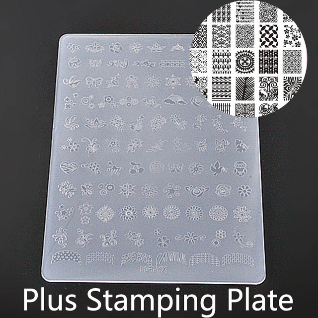 New Nail Art Plates Plastic Plus Size Stamp Lines Flower Letter ...