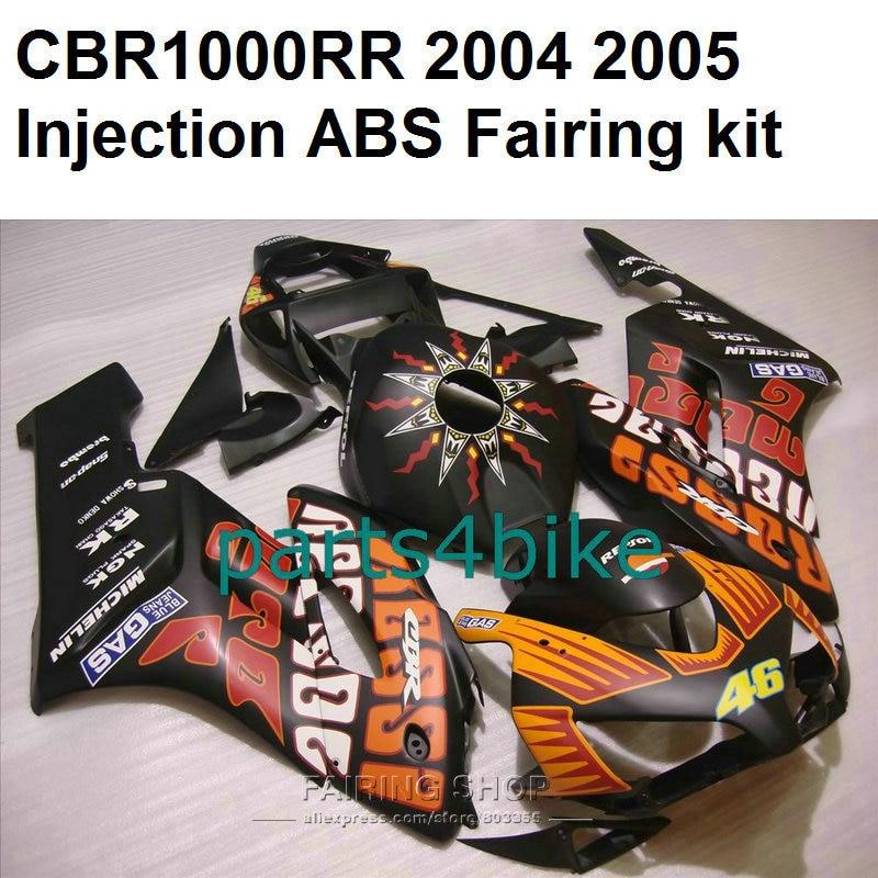 Abs fairings for honda cbr1000rr 2004 2005 ( black+orange sticker 100%fit ) cbr 1000rr 04 05 fairing