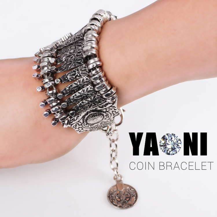 Bohemian Antalya Multilayer Pendant Bracelet Charms Coin Combinations Bracelet Bangle Silver Gypsy Statement Bracelet