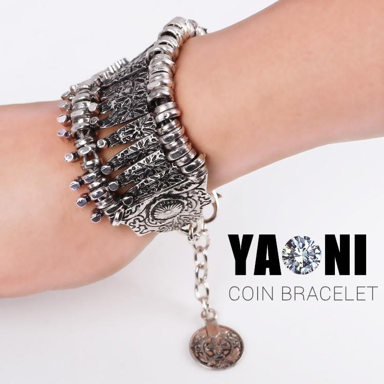 Bohemian Antalya Multilayer Pendant Bracelet Charms Coin Combinations Bracelet Bangle Silver Gypsy Statement Bracelet
