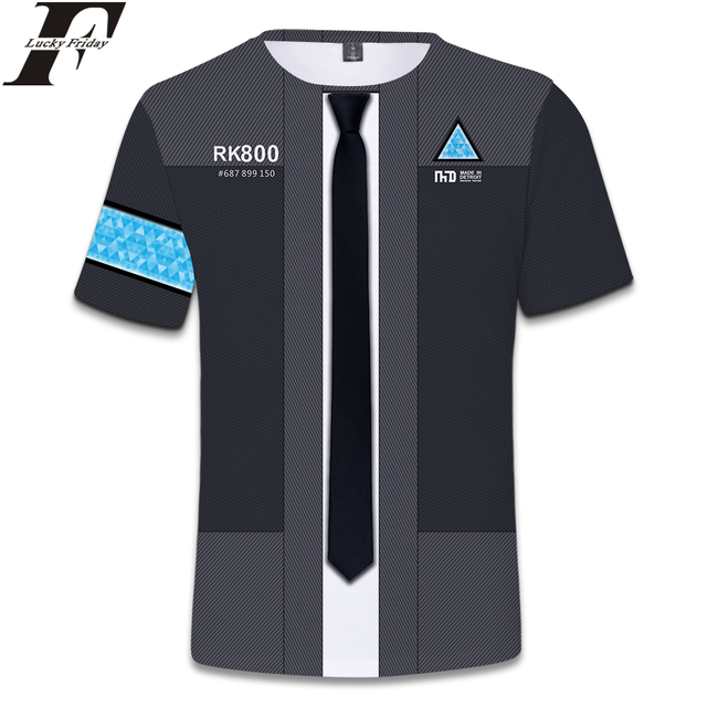96db33ccd97 LUCKYFRIDAYF Detroit Become Human 3D Short Sleeve T-Shirt RK800 Uniform  Regular T-shirt Man Women Casual Style Clothes Plus Size