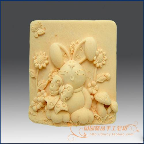 Rabbit Silicone Soap mold Handmade 3d silicone mould DIY Craft molds S118