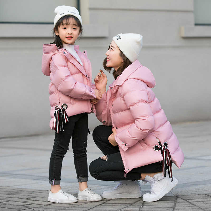 17b14d515177 Family Matching Clothing Mother Daughter Clothes Outfits winter coats  Fashion Mom And Kids pink/black
