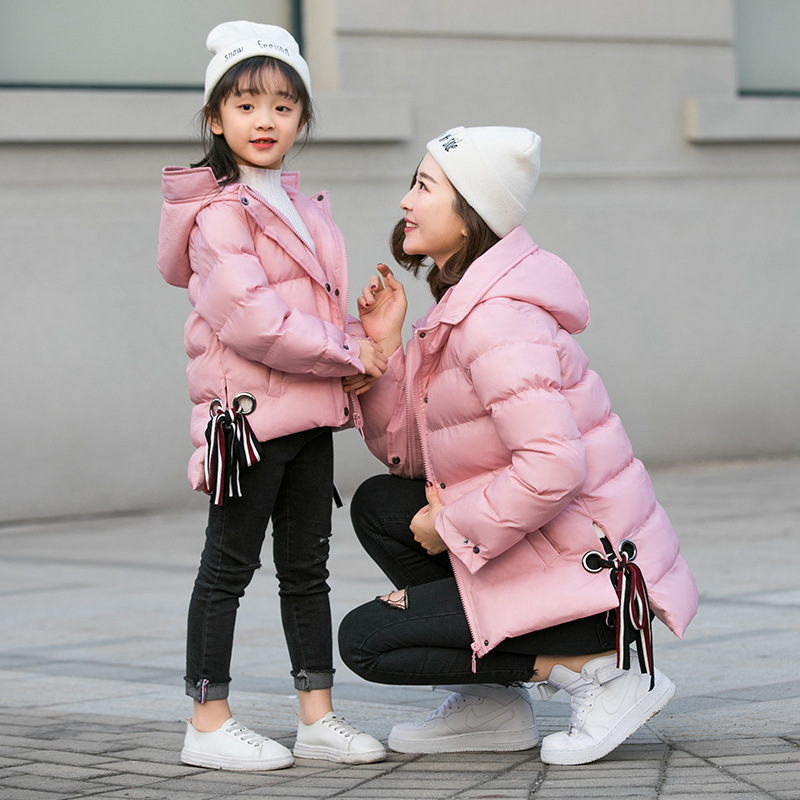 Family Matching Clothing Mother Daughter Clothes Outfits winter coats Fashion Mom And Kids pink/black jackets Family Look 2017 summer children clothing mother and daughter clothes xl xxl lady women infant kids mom girls family matching casual pajamas