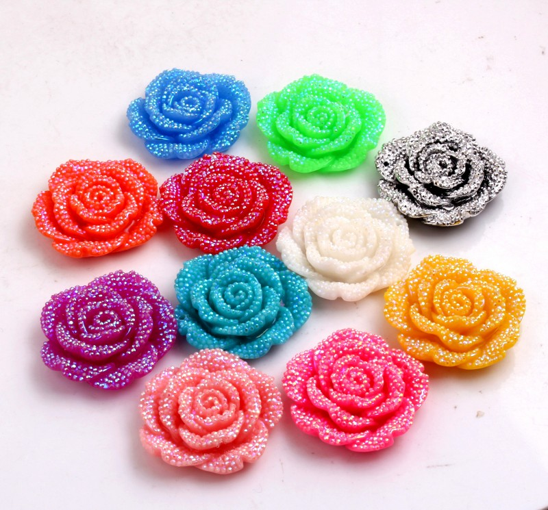 Kwoi Vita Chunky 42MM Chunky Resin Rhinestone Flower Pendant 50PCS A Lot Mix Color For Chunky  Jewelry