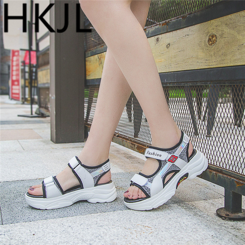 HKJL Sandal lady 2019 summer new Korean student flat Roman sports casual hook look platform shoes with thick bottom A344